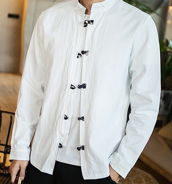 Men Chinese Knot Retro Unique Ethnic Printed Stand Collar Shirt 2