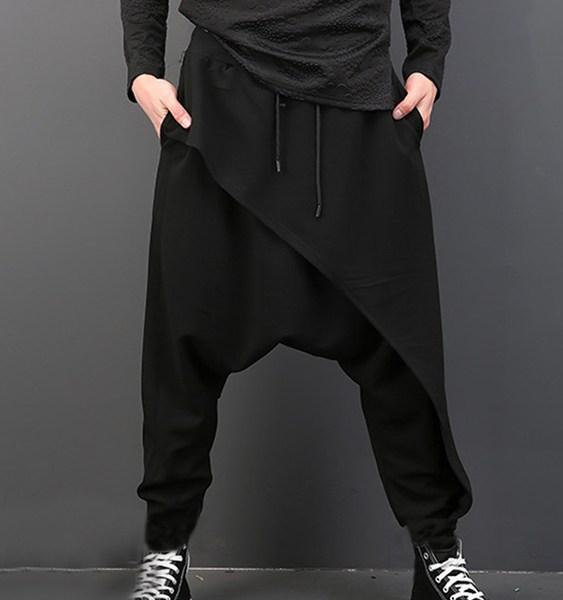 Men Casual Loose Drape Drop Crotch Gothic Punk Style Harem Hip-hop Pants 2