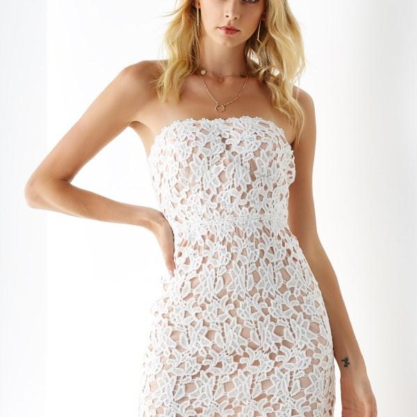 YOINS White Crochet Lace Embellished Strapless Dress 2