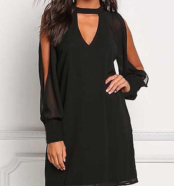 Black V-neck Cold Shoulder Long Sleeves Chiffon Dress 2