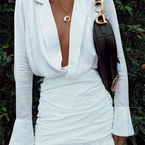 White Criss-cross Ruffle Hem Lapel Collar Long Sleeves Dress 2