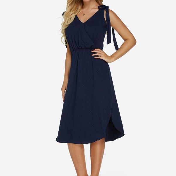 Navy Self-tie Design V-neck Sleeveless Stretch Waistband Slit Hem Dress 2
