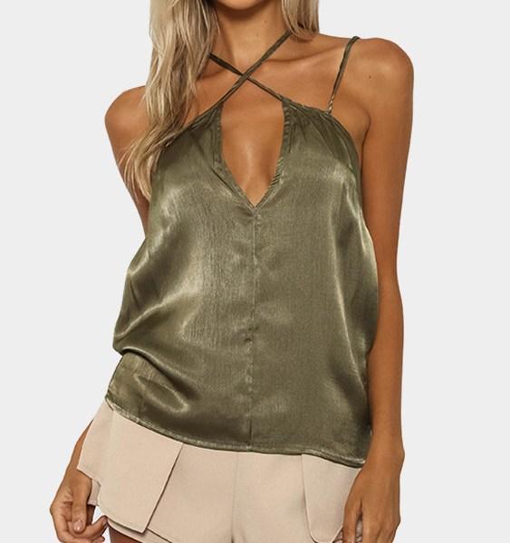 Green Sexy Self-tie Design Top 2
