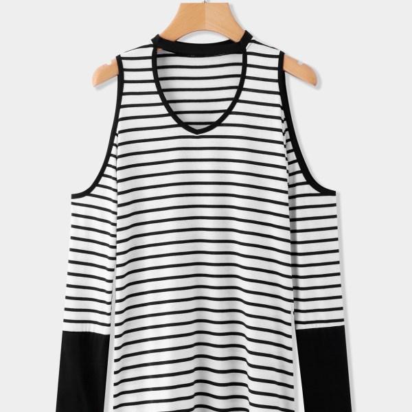 Black Cut Out Stripe Cold Shoulder Long Sleeves T-shirts 2