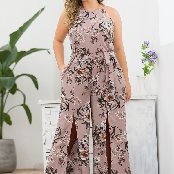 Plus Size Split Design Pink Floral Print Sleeveless Jumpsuit 2