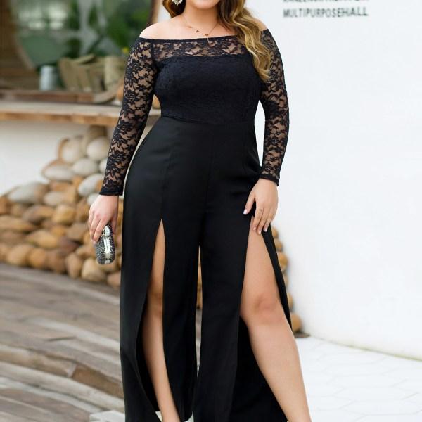 Plus Size Black Off The Shoulder Long Sleeves Lace Jumpsuit 2