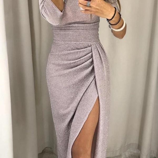 Pink Off The Shoulder Long Sleeves Ruched Dress 2