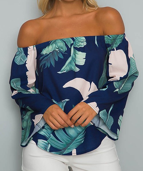 Navy Off-The-Shoulder Floral Print Flared Sleeves Top with Tie 2