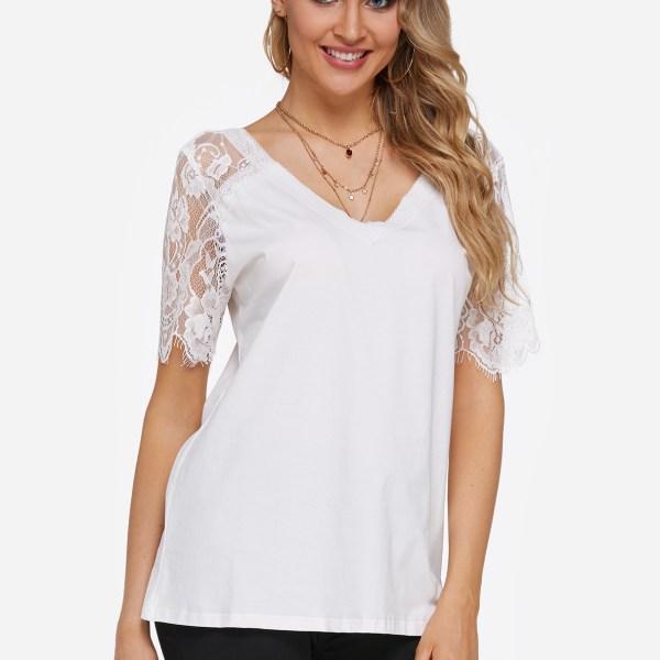 White Lace Insert V-neck Short Sleeves T-shirts 2