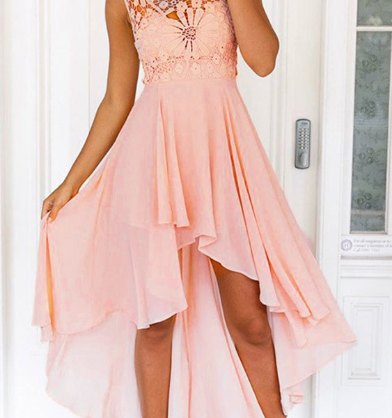 Delicate Crochet Lace Insert Maxi Dress in Pink 2