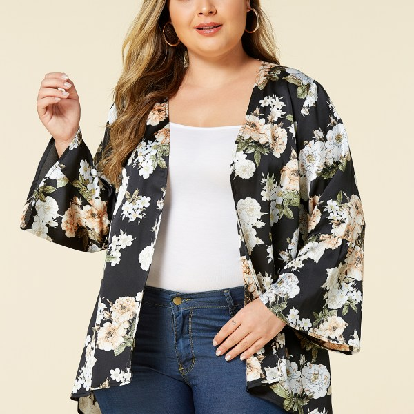 YOINS Plus Size Black Random Floral Print Long Sleeves Kimono 2