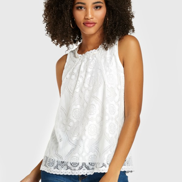 White Lace Tiered Design Sleeveless Tank Top 2