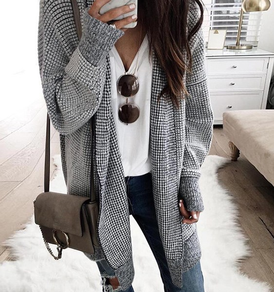 Grey Check Open Front Knit Cardigan 2