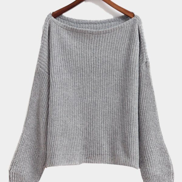 Ladies Grey Round Neck Long Sleeve Top Knit Sweater 2