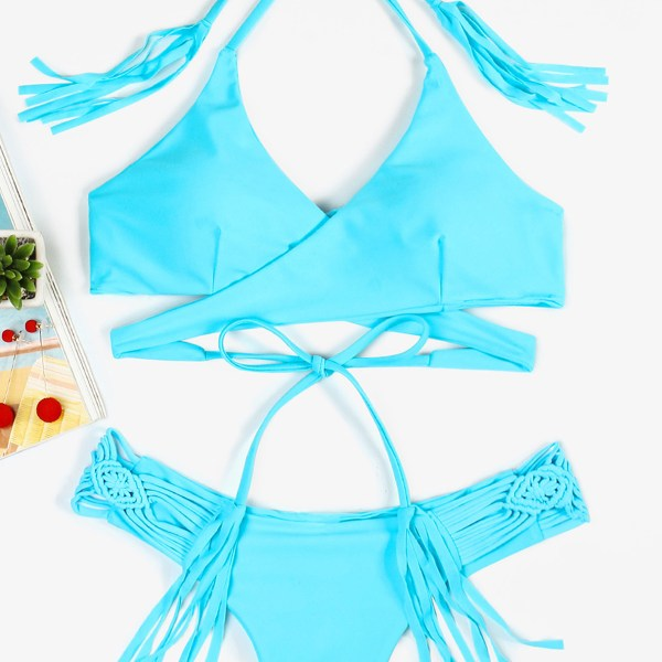 Sky Blue Lace Up Details Crossed Front Halter Bikini 2