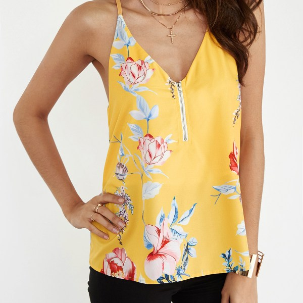 Yellow Random Floral Print V-neck Cami Top with Zipper Design 2
