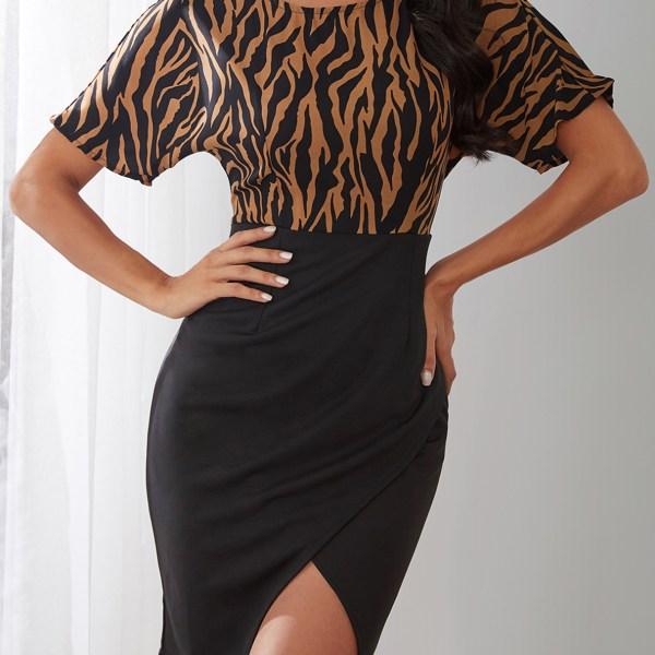 YOINS Coffee Zebra Print Round Neck Slit Hem Mini Dress 2