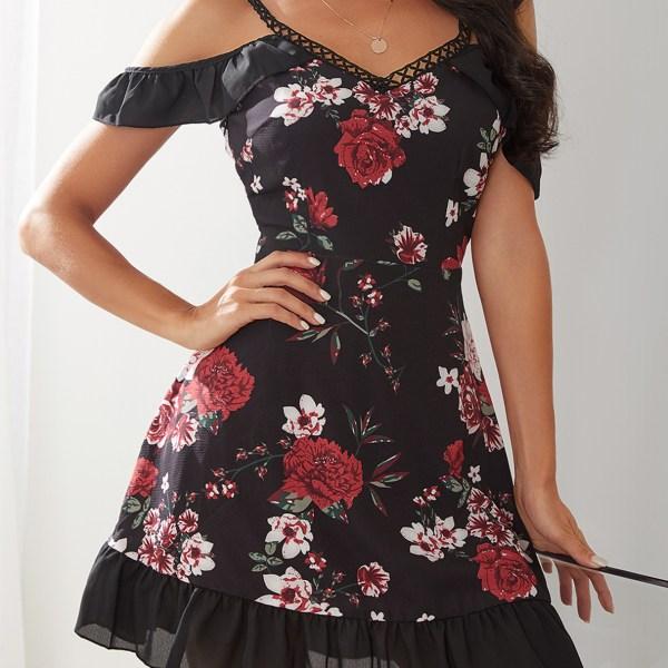 Black Random Floral Print Cold Shoulder Flounced Hem Dress 2