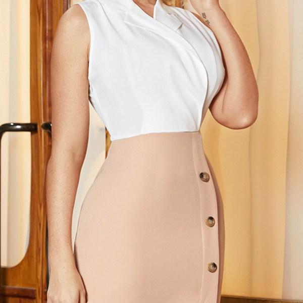 YOINS Khaki Front Button Patchwork Slit Lapel Collar Sleeveless Dress 2