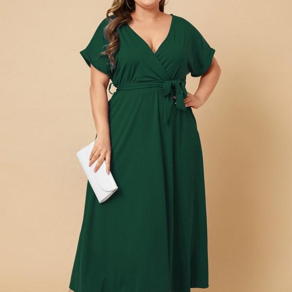Plus Size Belt Design V-neck Short Sleeves Dress 2