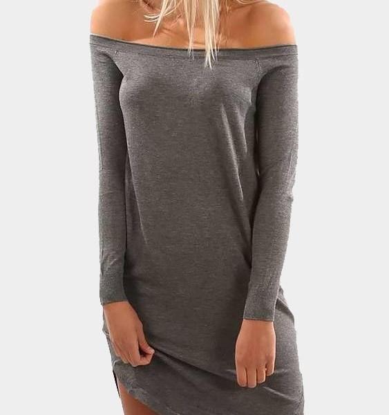 Grey Off-The-Shoulder Curved Hem Mini Dress 2