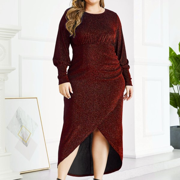 YOINS Plus Size Red Metallic Shine Party Dress 2