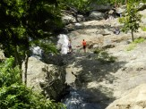 Who can resist climbing the rocks of the falls?