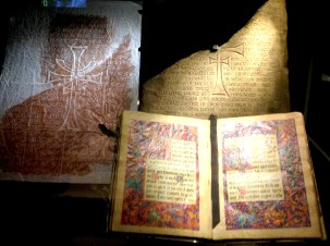 The illustrated manuscript, the stone tablet and a rubbing led Indiana Jones and his Crusades-obsessed father to find the Holy Grail. The Nazis of course were on their tail the whole time.