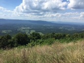 Blue ridges rise above the Shenandoah Valley
