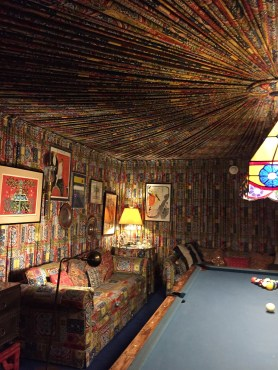 Yards and yards of material cover the walls of Elvis' pool room.
