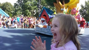 My friend Kelly's daughter seeing the parade for the first time--and she got picked to jump rope!