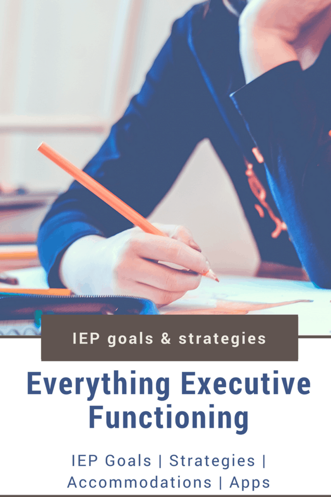 Everything Executive Functioning! This should have everything you need for your child's Executive Functioning issues and their IEP. In here you will find Executive Functioning IEP Goals, IEP accommodations, apps that address Executive Functioning deficits and strategies for including EF in your IEP.