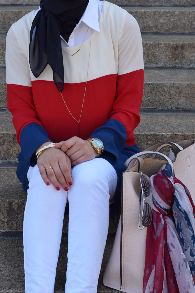 A Day In The Lalz - Patriotic Strips; Fashion; Modesty; Fashion Blog; Fourth of July