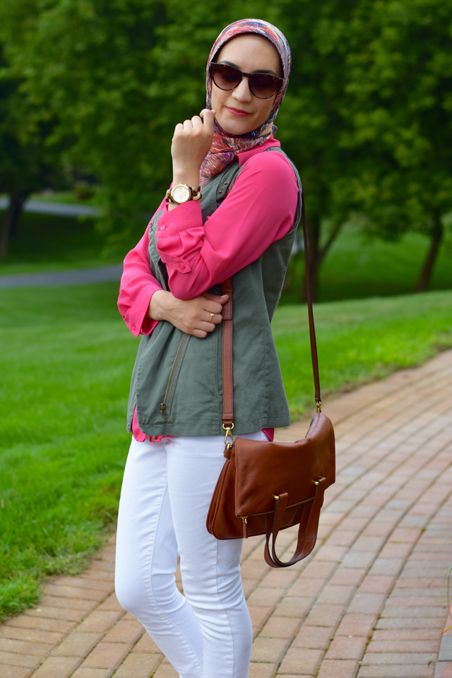 A Day In The Lalz; Transitioning To Fall Fashion; Fashion Blog; Modesty; The Limited Ashton Blouse; Green Vest; Pink; Michael Kors Flats; Cole Haan Sunglasses; White Denim; Cognac Crossbody Bag
