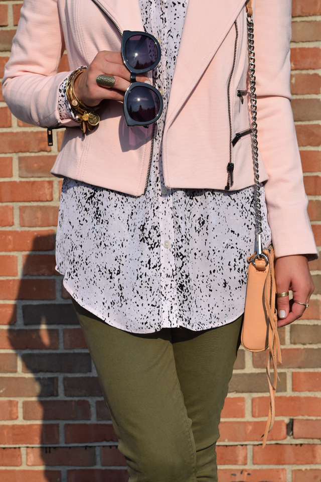 A Day In The Lalz; Fall Fashion; Banana Republic; Pink and Olive; Fashion Blogger; Modesty; Hijabi; Vela Zipper Edge Scarf; Karen Walker Super Dupe Sunglasses; Rebecca Minkoff Handbag; Style Inspiration