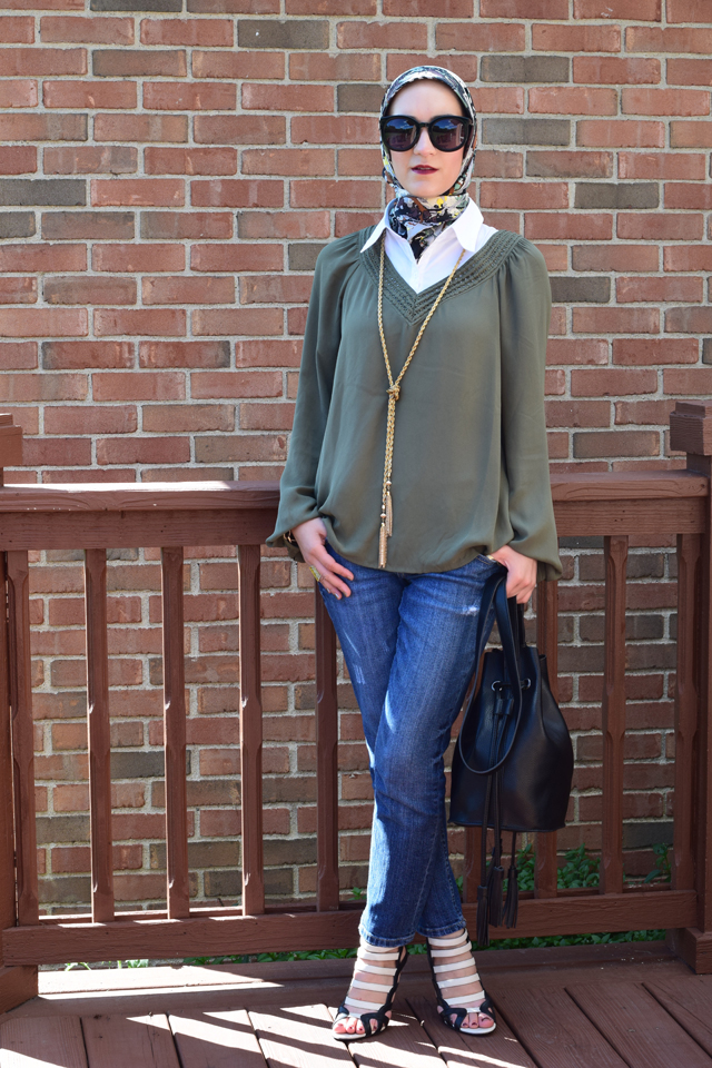 A Day In The Lalz; Olive x Black; Bucket Bag; Karen Walker Super Dupe; Jackson Pollock Scarf; Bauble Bar Iced Lariat Pendant; Fall Fashion; Style; Fashion Blog; Modest Style