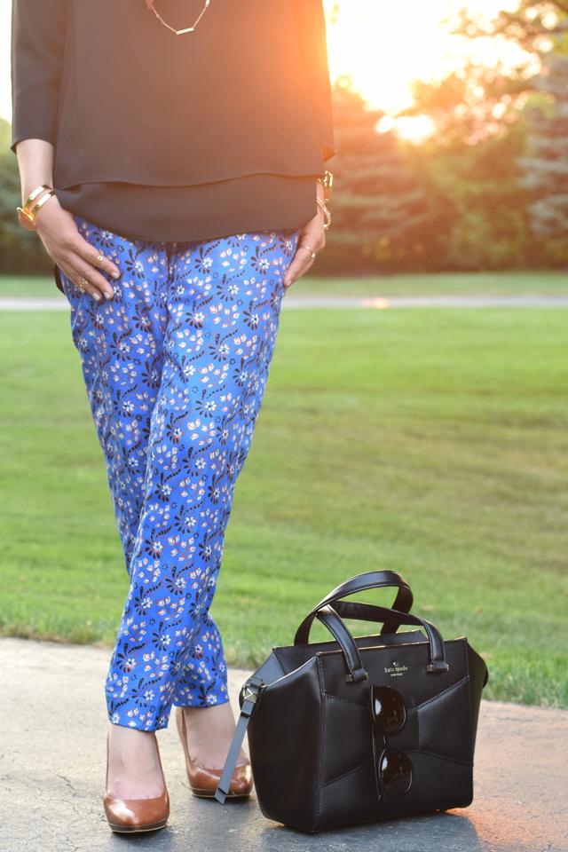 A Day In The Lalz; J. Crew Vintage Scarf Print Pant; Fall Fashion; Hijab Style; Fashion Blogger; Karen Walker Super Dupe; Kate Spade Beau Bag;