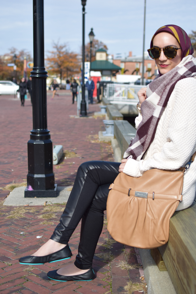 A Day In The Lalz; Weekend Casual Look; Tieks; Fall Blanket Scarf; Karen Walker Sunnies; J. Crew Sweater; Leather Leggings; Hijab; Modesty; Fashion Blogger