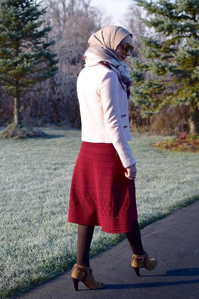 A Day In The Lalz; Burgundy Dress; Banana Republic Moto Jacket; Blush Pink Jacket; Karen Walker Sunglasses; Brown Booties; Blanket Scarf; Fashion Blogger; Hijab Fashion; Modest Style; Winter Look; Layers;