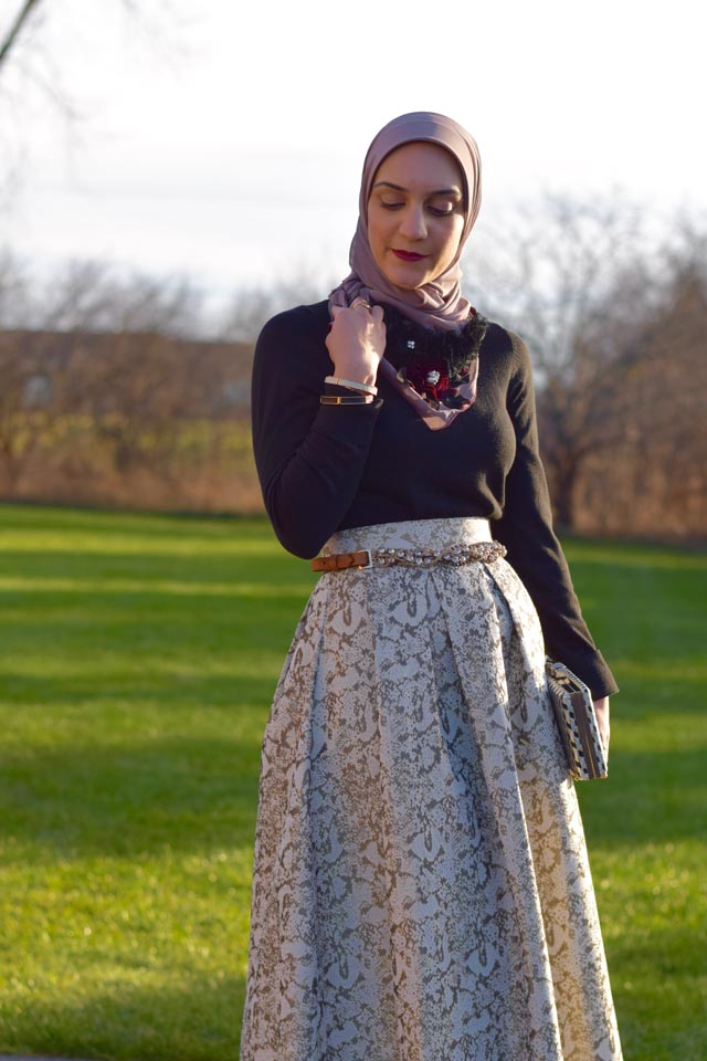 A Day In The Lalz; Holiday Party Look; Veilure Cotoure; Modest Fashion; Hijab Fashion; Fashion Blogger; Ball Gown Skirt; Holiday Outfit Ideas; Gold and Black