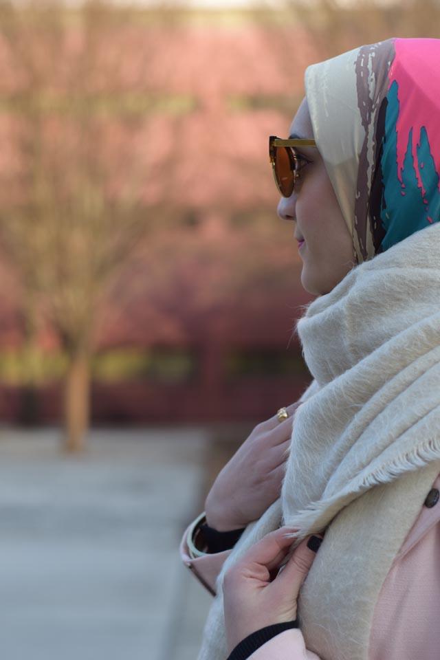 A Day In The Lalz; Fashion Blogger; Chicwish Sway the Plaids Belted Midi Skirt in Black; Banana Republic Multi-Zip Moto Jacket; Louise et Cie Vianne Bootie; Free People Koda Brushed Scarf; Kitten Cat Eye Sunglasses; windowpane skirt; Pink blazer; Modest Fashion; Hijabi; Winter Look