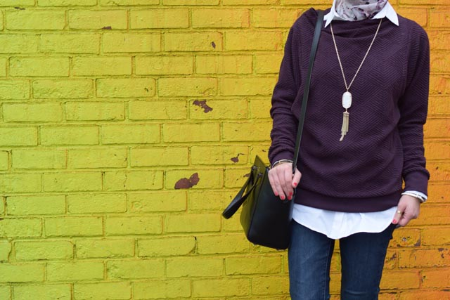 A Day In The Lalz; Anthropologie Jura Funnelneck Pullover; Winter Style; DUMBO Rainbow Wall; Brooklyn; Streetstyle; Hijabi Fashion; Modest Fashion; Fashion Blogger; Haute Hijab; Kendra Scott Necklace; Kate Spade Beau Bag