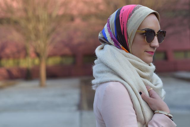 A Day In The Lalz; Fashion Blogger; Chicwish Sway the Plaids Belted Midi Skirt in Black; Banana Republic Multi-Zip Moto Jacket; Louise et Cie Vianne Bootie; Free People Koda Brushed Scarf; Kitten Cat Eye Sunglasses; windowpane skirt; Pink blazer; Modest Fashion; Hijabi; Winter Look