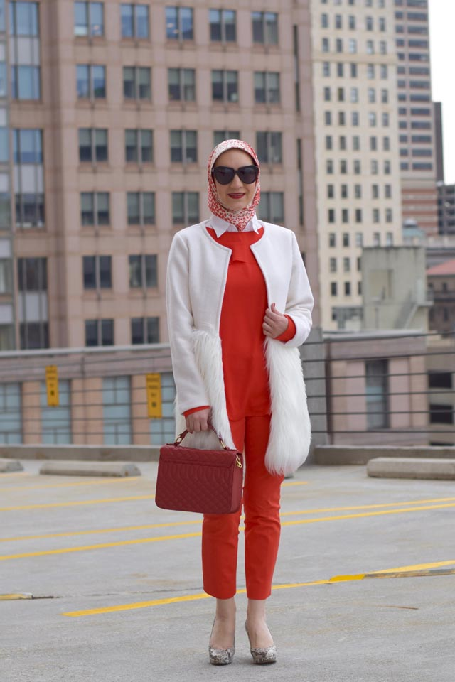 A Day In The Lalz; Lalz Aslani; Valentine's Day Outfit; Banana Republic Ruffle-Front Blouse; Banana Republic Sloan Pants; Red Pants; J. Crew Edie Purse; Haute Hijab; Red Outfit; Modest Fashion; Fashion Blogger; Valentine's Day; Karen Walker Number One Sunglasses