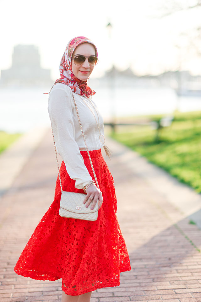 A Day In The Lalz Fashion Blog, Banana Republic Red Lace Midi Skirt, Hijabi Fashion Blog, Baltimore, Canton Waterfront Park, Hijabi Style, Spring Skirt Style, Stuart Weitzman Nude Heel