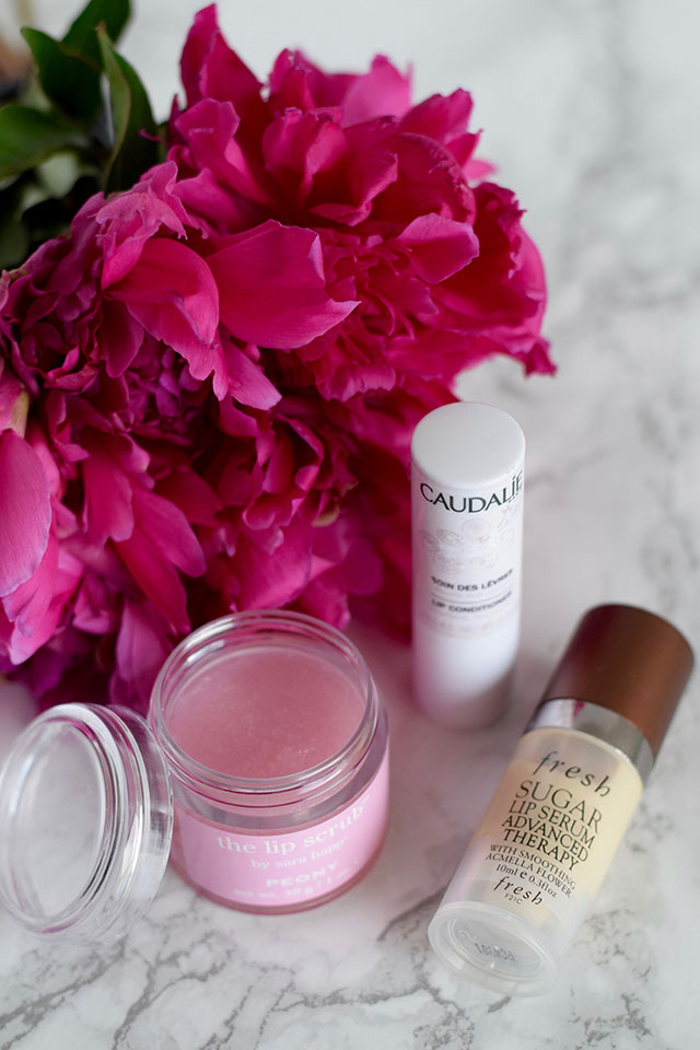 A Day In The Lalz Fashion Blog, Sara Happ Peony Lip Scrub, Sara Happ Lip Products, Fresh Sugar Lip Serum, Caudalie Lip Conditioner, Beauty Blog, Skincare Routine, Dry Lips Cure