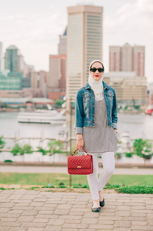 Matte Black Tieks-Stripe Tee-Federal Hill-Baltimore-Hijab Fashion-Fashion Blogger