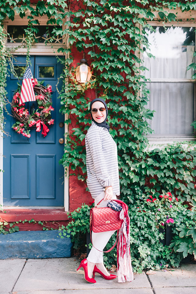 Fourth of July-Americana-Banana Republic-Stripe Shirt-White Jeans-Red Handbag-American Flag Scarf-Fells Point-Baltimore-Kendra Scott Necklace-Summer Style-4th of July fashion-modest fashion-fashion blogger- red, white, and blue fashion inspiration