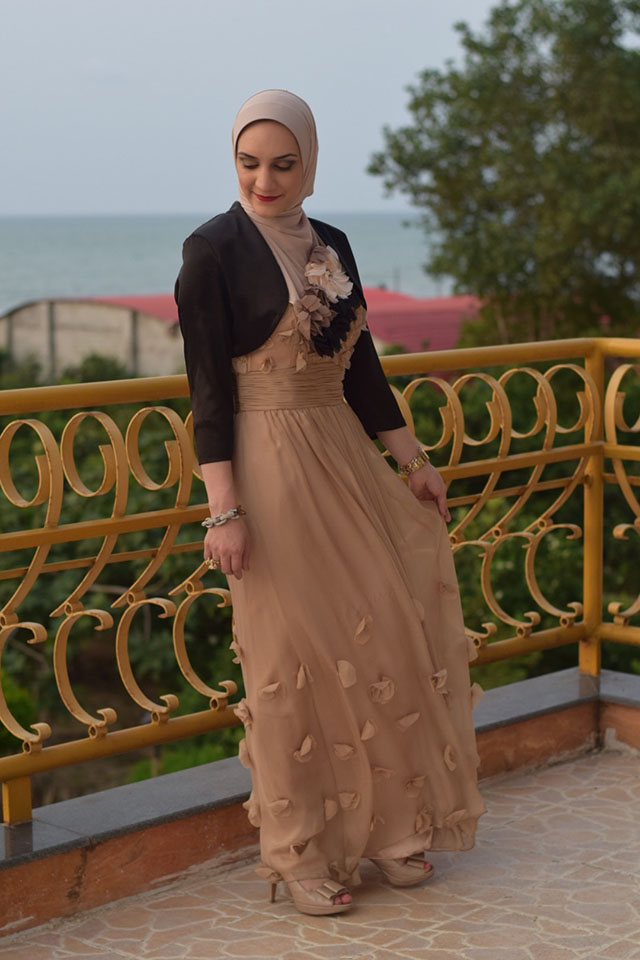 JS Collections Floral Appliqué Chiffon Gown-Evening Look-Hijabi Modest Gown-Summer Style-Veilure Cotoure Scarf-Fashion Blogger-Modest Formal Gown