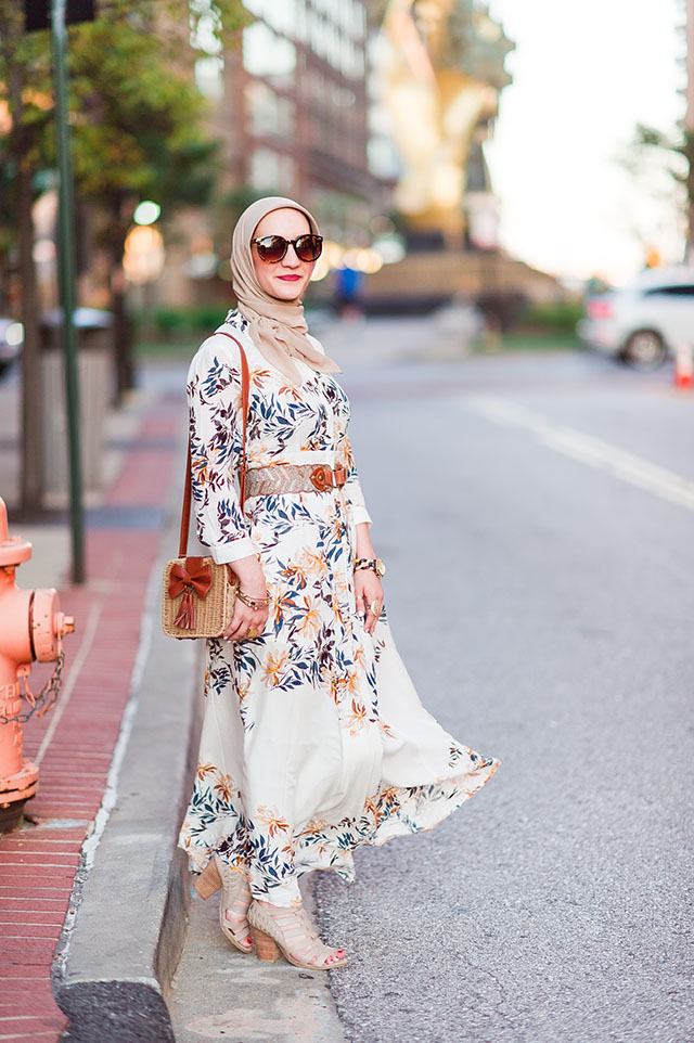 Zaful Printed Maxi Shirt Dress - Fall Fashion - Harbor East Baltimore - Cutout Booties - Katie Vee Photography - Bow Weaving Bag - Tortoise sunnies - Huda beauty trophy wife liquid matte lipstick - fashion blogger - fall style